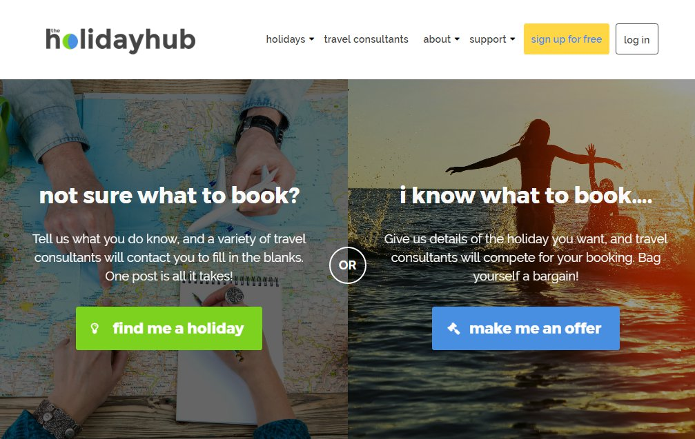The Holidayhub homepage screenshot